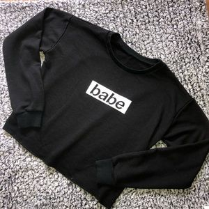 """Babe"" Logo Cropped Black Long Sleeve Shirt"